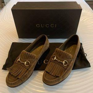 Gucci fringe horsebit brown suede loafers